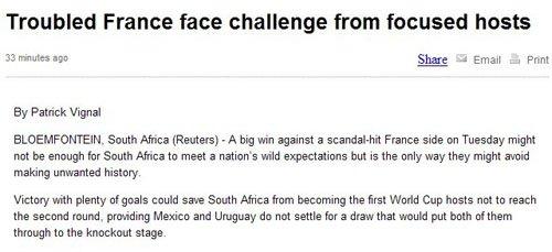 法国内讧便宜东道主 南非出线希望重燃欲大胜