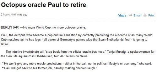 章鱼帝被宣布正式退役 8猜全中后得安享晚年