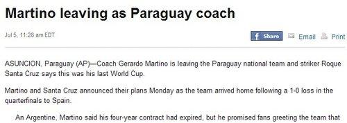 巴拉圭将面临推倒重建 主帅头号球星同时离队