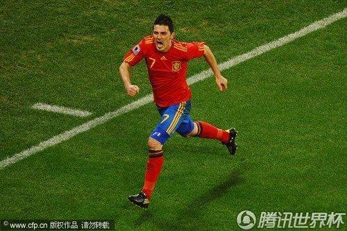 图文:西班牙VS葡萄牙 比利亚疯狂怒吼_世界杯