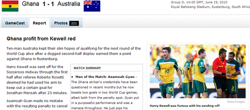 espn:澳大利亚队10人仍顽强 加纳遗憾平局