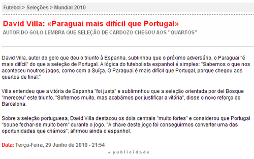 比利亚:赢在机会把握上 巴拉圭比葡萄牙更强