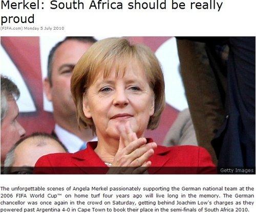德国总理:球队表现出色 南非因世界杯而骄傲