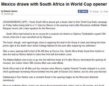 法新社:沙巴拉拉率先破门 南非队空欢喜一场