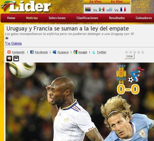 乌媒Lider:局面占优法国未能取胜10人乌拉圭
