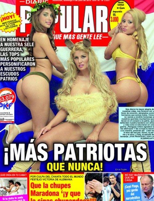 巴拉圭模特轻解罗裳谢国脚 集体登上报纸封面