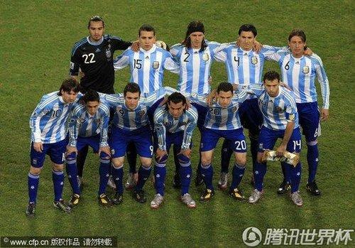 图文:阿根廷VS墨西哥 阿根廷球队合影