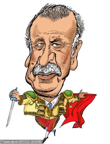 漫画:世界杯主教练脸谱 西班牙主教练博斯克