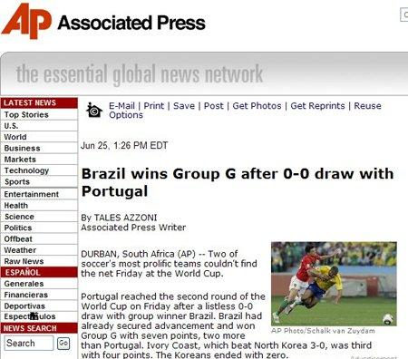 美联社:葡萄牙重逢巴西 强强对决终携手晋级
