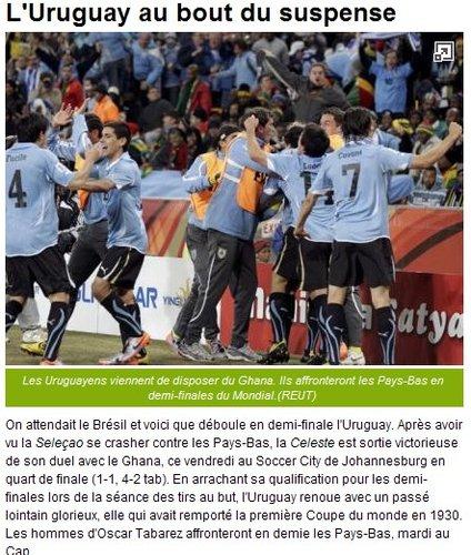队报:乌拉圭重现辉煌 时隔40年再此闯进四强