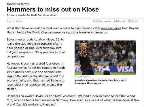 克洛泽世界杯表现惊艳 西汉姆联与其失之交臂
