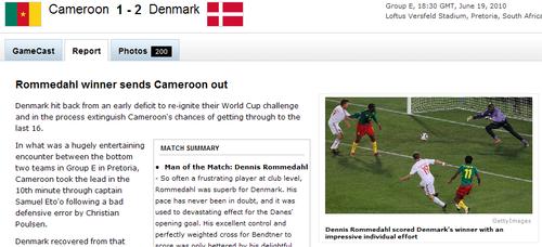 espn:埃托奥早该打中锋 老炼丹麦送1球还2球