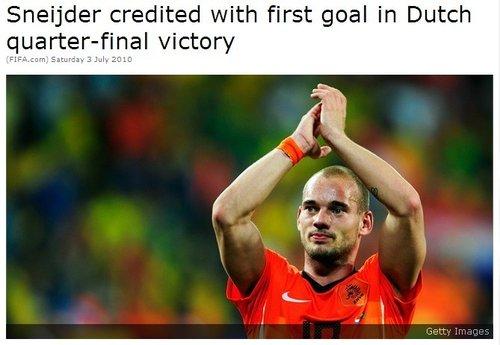 FIFA改判取消梅洛乌龙 斯内德4球领跑射手榜