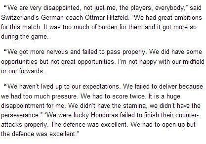 瑞士主帅:洪都拉斯防守完美 球队出局很失望