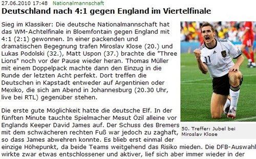 德国足协:一场经典对决 克洛泽1球迎2里程碑