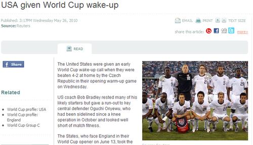 《新西兰电视台》:2-4美国队世界杯前当清醒