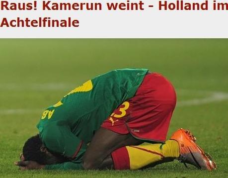 图片报:喀麦隆遭逆转出局 最大受益荷兰日本