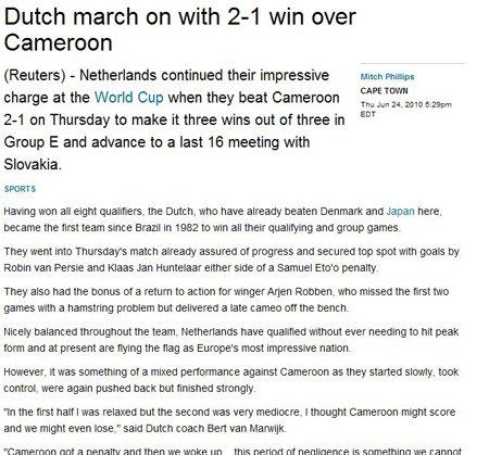 """路透社:荷兰""""美""""中不足 点球唤醒橙色风暴"""