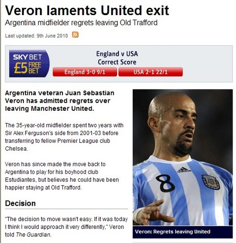 阿根廷核心贝隆自曝后悔离开曼联