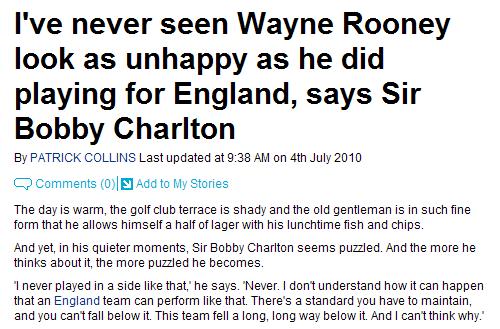 查尔顿:英格兰用坏了鲁尼 从未见他如此不爽