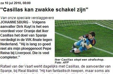 荷兰两将皆轻视圣卡西 库伊特:他是最弱环节