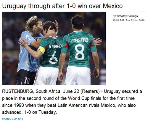 路透社:头名争夺非默契 乌拉圭强势挺进16强