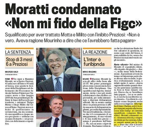 莫拉蒂炮轰意大利足协:整走穆里尼奥又整我