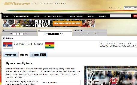 ESPN:加纳队给非洲信心 要出线还需加强防守