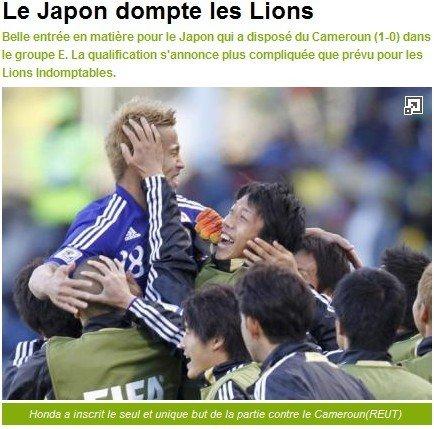 队报:日本驯服了非洲雄狮 埃托奥完全被看死