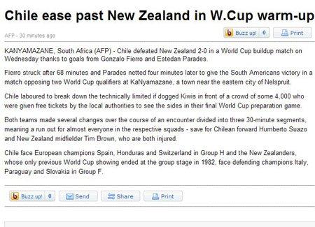 法新社:智利完胜新西兰 圆满终结热身赛
