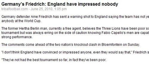 德国铁卫:英格兰表现拙劣 球星再多也是烂队