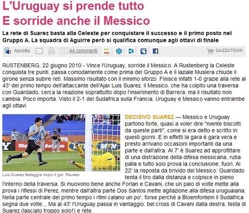 米兰体育报:苏亚雷斯闪耀 乌拉圭有望走更远