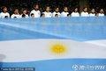 图文:阿根廷3-1墨西哥 阿根廷队员高唱国歌