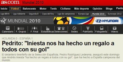 西班牙盛赞伊涅斯塔 佩德罗:是他让我们夺冠