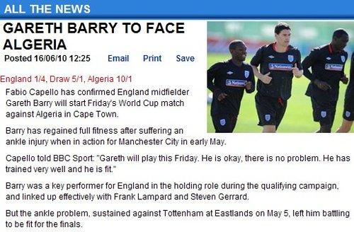 英格兰确认巴里复出 双德共存问题终因他解决
