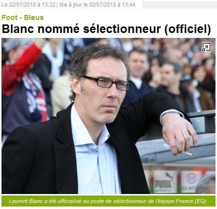 布兰克正式就任法国主帅 两年合同培养新雄鸡