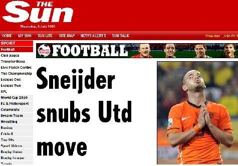 斯内德拒绝曼联邀请 誓领国米再创三冠王伟业