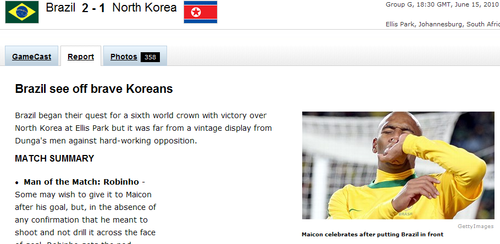 espn:朝鲜赢得尊重 罗比尼奥最佳卡卡惹人忧