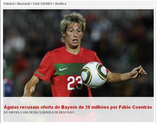 本菲卡拒拜仁2千万报价 科恩特朗需再拿1千万