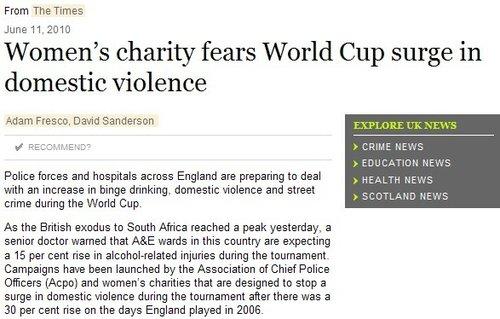 世界杯期间英国严禁家暴 打老婆或直接送监狱