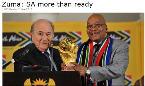 总统祖玛:世界杯改变南非 激情胜曼德拉出狱
