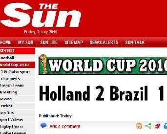太阳报:荷兰疯狂逆转 巴西出局梅洛要负全责