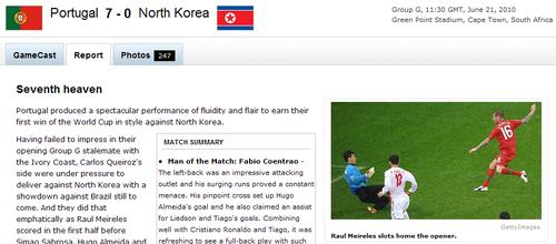 espn:葡萄牙展现完美进攻 7球磨灭朝鲜意志
