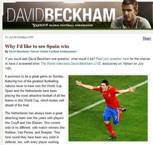 贝克汉姆希望西班牙夺冠 称儿子跟他观点一致