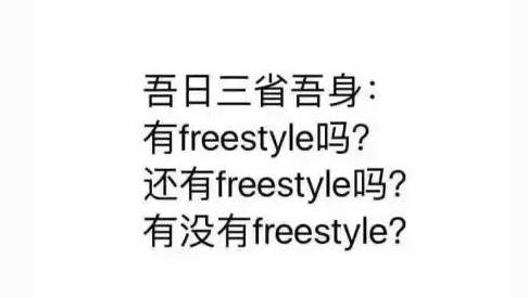 这年头,没有freestyle都不敢出门