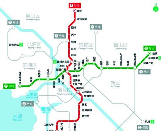 无锡地铁线网规划图-无锡地铁2号线预计年底通车 3 4号线一期适时启建图片