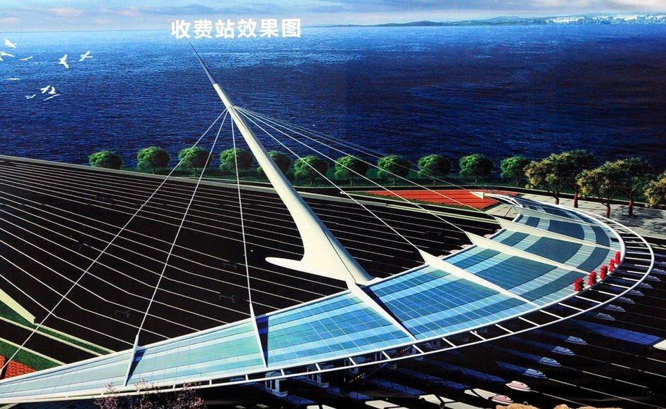 港珠澳大桥收费站效果图 (图3)-世界最长跨海大桥开工