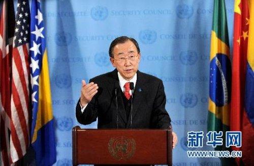 联合国秘书长潘基文呼吁埃及政权和平有序过渡