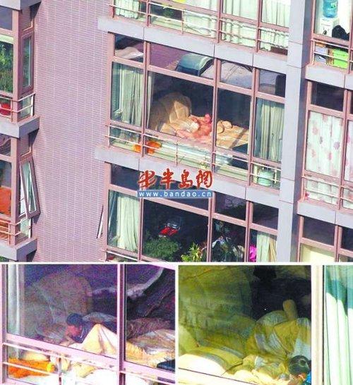 美女床上遭对面楼上偷拍裸照被传至微博图