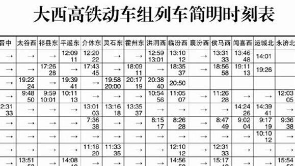 大西高铁运行时刻表 西安到太原最快2小时55分